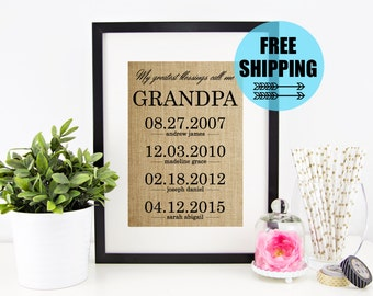 ON SALE! Personalized Father's Day Gift for Grandfather | Grandpa Gift | Fathers Day Burlap Print | Grandchildren Birth Dates Wall Art