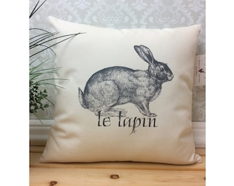 French Rabbit Pillow Cover featuring a Vintage Illustration Le Lapin