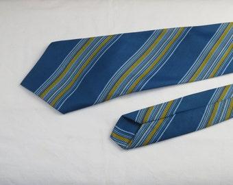 Vintage Men's Tie, Blue Yellow White Olive Stripes.