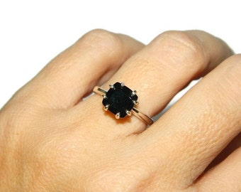 Black Spinel Ring, Square Stone, Natural Gemstone Ring, Sterling Silver Ring