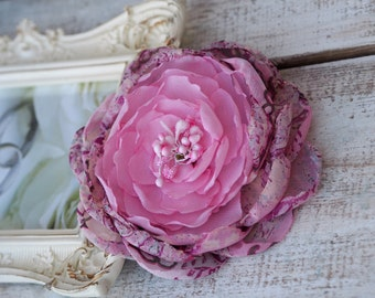 Pink Bridal Hair Accessory, Pink Bridal Flower, Pink Silk Peony, Pink Flower Brooch, Pink Hair Flower, Graduation Flower