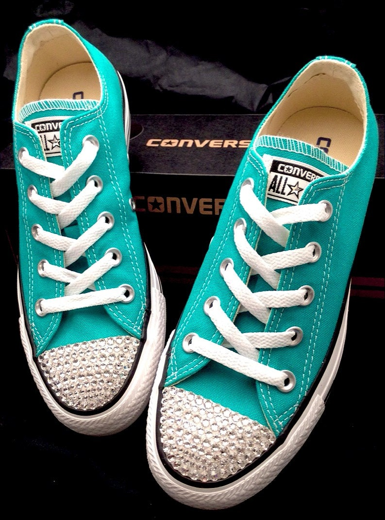 de4d9006c162 Turquoise Blue Aqua Converse Low Top Mens Women Wedding Glass Slipper w Swarovski  Crystal Rhinestone Teal Chuck Taylor All Star Sneaker Shoe