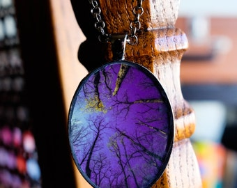 Violet Woodland Moonlight - Enchantment - Handmade photo pendant necklace resin oval gunmetal - woods forest moon trees purple sky haunting