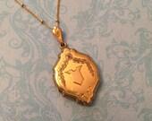 Vintage Art Deco Locket, Uniquely Shaped Gold Filled Locket, Wedding Locket, Gift for Her