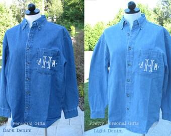 Monogrammed Denim Shirt - Denim bridal party shirt