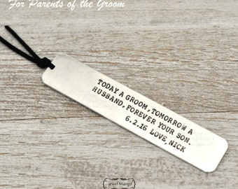 Wedding gift for parents, Keepsake bookmark, gifts for father of the groom, gifts for mother of the groom, wedding, today a groom, son