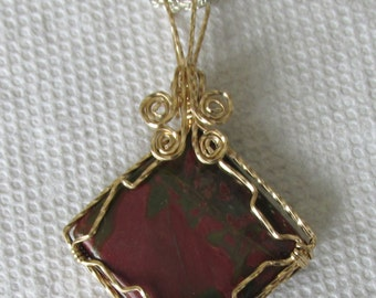 Red Creek  Jasper, Pendant wire wrapped in Gold filled wire