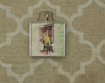 Winnie the Pooh storybook pendant charm soldered glass art charm pendant