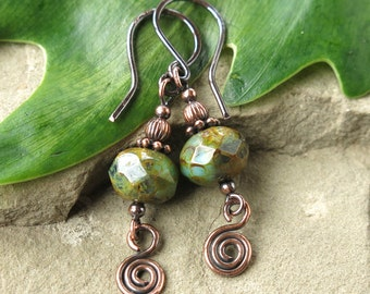 Copper dangle earrings - moss green & teal blue faceted picasso Czech glass beads