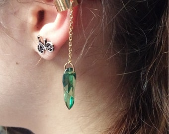 Gold and green bead dangle ear cuff boho gypsy