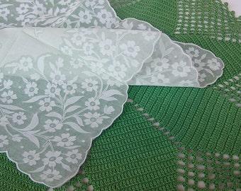 VINTAGE Sheer Floral Hanky, unused with original sticker, Pastel Green