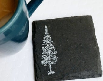 READY TO SHIP The 4 Trees Slate Coasters in White Ink (Set of 4)  Nature, Forest, Pine, Birthday