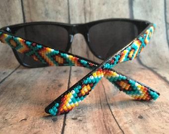 Black Frame Native American Beaded Sunglasses