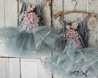 Two gray ballet costumes embellished millinery roses shabby cottage chic tutu's adorned vintage dyed flowers wall decor anita spero design
