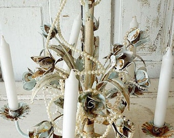 Distressed tole rose candelier candle holder French chic rusty shabby cottage chic pale blue white hanging or table decor anita spero design