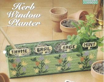 Plastic Canvas Pattern Herb Window Planter - Kitchen Window, Herb Garden, Planter, Plant Pot Holder