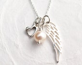 Miscarriage Necklace, Angel Wing with Heart, Pearl, Remembrance Gift, Baby Memorial Necklace, Miscarriage Jewelry, Sterling Silver