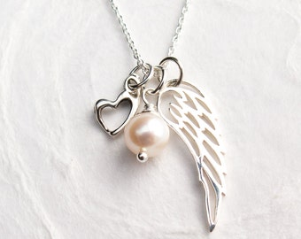 Miscarriage jewelry etsy miscarriage necklace angel wing with heart pearl remembrance gift baby memorial necklace aloadofball Choice Image