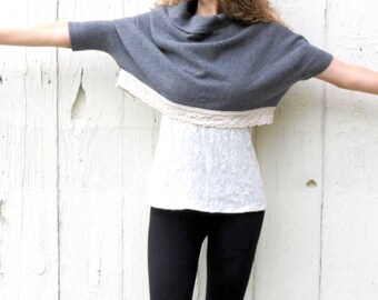 Unique sweaters, Gray sweater, anthropologie sweater, cropped sweater, short sleeve top, upcycled clothing for women, assymetrical sweater