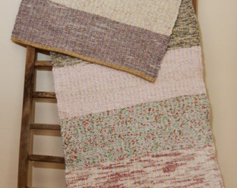 """Hand Woven Rag Rug - Scrappy Patchwork Cotton Rug of Vintage Fabrics 21"""" x 47"""""""