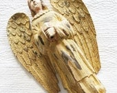 Vintage Cottage Home Cafe au Lait, Saffron Yellow, and Chocolate Brown Carved Wood Angel with Detailed Wings and Robe, Olives and Doves