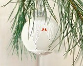 Winter Wedding Favor Ornament winter wedding ornament birch tree ornament cardinal ornament hand painted Christmas ornament white christmas