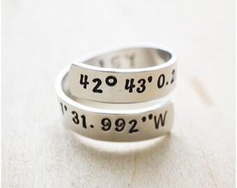 Coordinates Ring - Best Friend Long Distance Relationship - Graduation Gift - LDR Gift - Hand Stamped Latitude & Longitude Ring - Initials