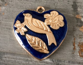 blue enamel heart bird pendant flowers floral gold toned jewelry necklace supply