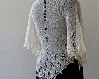 Cream linen shawlette with cream beads - Hand knitted one of a kind shawlette