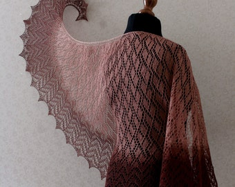 Handknit linen shawl in latte and chocholate brown colors.  Linen lace shawl with beautiful pattern