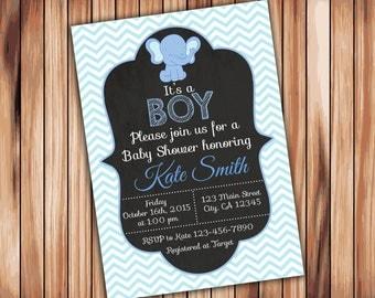 Elephant Baby Shower Boy  Chevron Invitation -Digital Printable Invitation - Blue Babyshower -Personalized Printable Baby Shower (009)