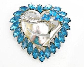 Rhinestone Heart Brooch Blue and silver  mid century pin