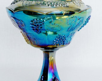 Vintage Iridescent Blue Carnival Glass Harvest Grape Footed lidded Compote by Indiana Glass, Vintage Carnival Glass Compote, Indiana Glass,