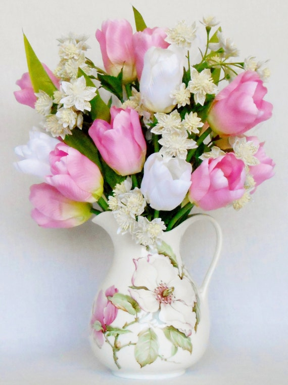 Artificial Flower Arrangement Pink Tulips White Tulips