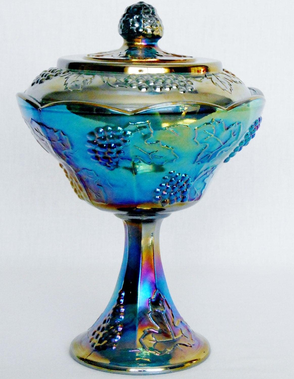 Vintage Blue Carnival Glass 88