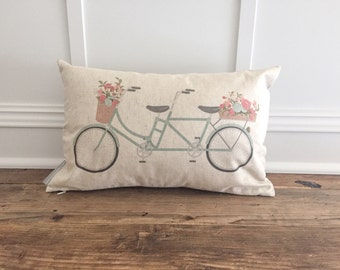 Tandem Bicycle Pillow Cover