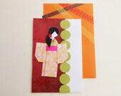 Chiyogami Paper Card - Origami Greeting Card - Japanese Paper Card - Handmade Greeting - Yuzen Paper Card - Blank Inside - Sakura Blossoms