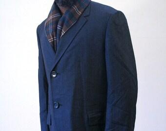 Vintage 60s Coat, Virgin Wool Herringbone Coat, Charcoal Gray Overcoat, 60s Overcoat, Hart Schaffner & Marx Coat, Size M 40