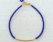 Blue Beaded Bracelet - Cobalt Blue Seed Bead Bracelet - Slim Curve Bar Bracelet - Evil Eye Bracelet - Minimalist Bracelet - Bangle Bracelet