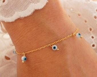 Evil Eye Bracelet - Bohemian Bracelet - Turquoise Bracelet - White Gold Pendant Bracelet - Boho Chic Bracelet (available also in Silver)