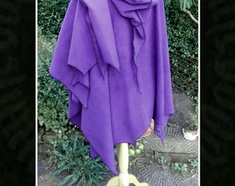 Pixie Hooded Wrap, Cape with Witchy/Scalloped Hem in warm polar fleece