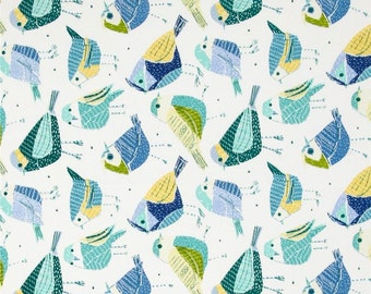 LAST YARD Chickadees Birds from Richloom - Spa Blue Green White - Home Decor Indoor / Outdoor Fabric