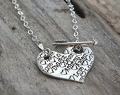 Heart Mom Unique Sterling Silver Necklace / Hand Stamped Jewelry /Personalized Woman's Necklace / Unique Name Jewelry / Necklaces for Women