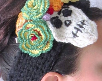 CHICANA Hand Crochet Skull Head Piece Dia De Los Muertos Day of the Dead