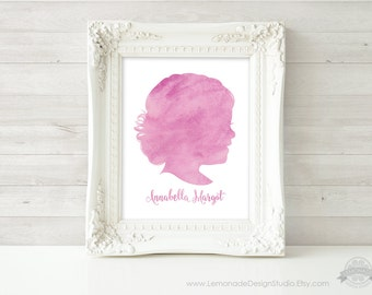Watercolor Silhouette, CUSTOM Portrait, Mom Wall Art, Childrens Silhouette, Printable Watercolor, Mothers Day Gift, Personalized Nursery Art