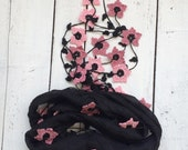 Silk Wrap Scarf, Black Silk Necklace Pink Dusty Rose Oya Flowers Crochet Beaded Jewelry Foulard Scarf, Beadwork, ReddApple,