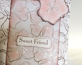 Hand made cards: Stampin Up handmade card - Sweet Friend - Whimsical cards - Hand stamped flowers - Pink - Peach - friendship card - Wcards
