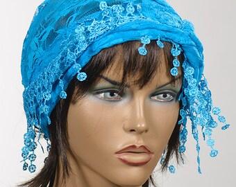 BLUE Lace summer turban with fringe. Spring and Summer turban with fringe. New season. Women beach headband bandana.