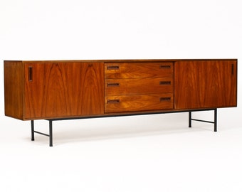 Danish Modern / Mid Century Teak Credenza / Media Cabinet — Sliding Doors — Black Steel Base