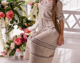 "Knitted suit ""Beregynya"" made of linen and cotton in the Slavic style, with lace"